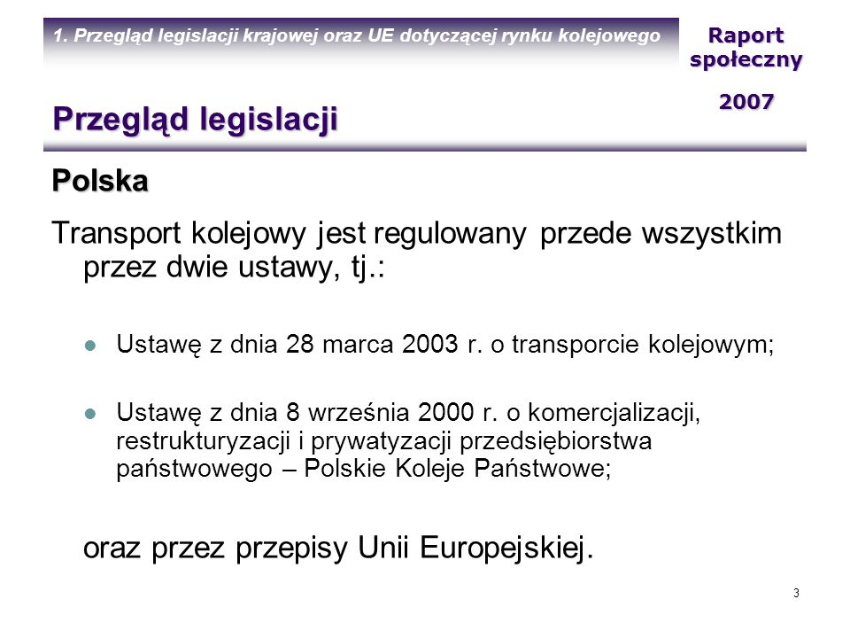 Przegląd legislacji Polska