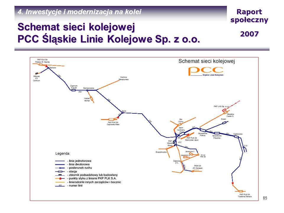Schemat sieci kolejowej PCC Śląskie Linie Kolejowe Sp. z o.o.
