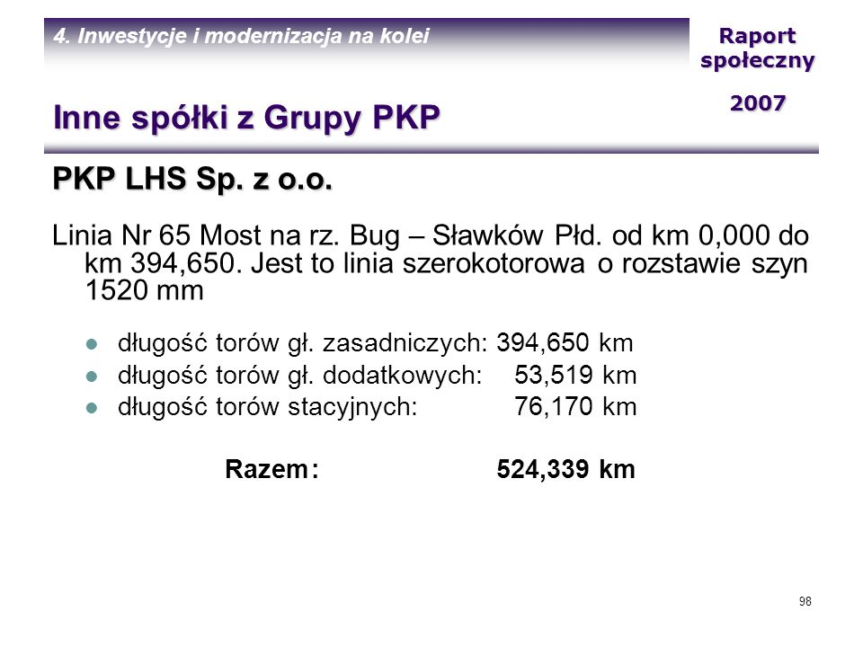 Inne spółki z Grupy PKP PKP LHS Sp. z o.o.