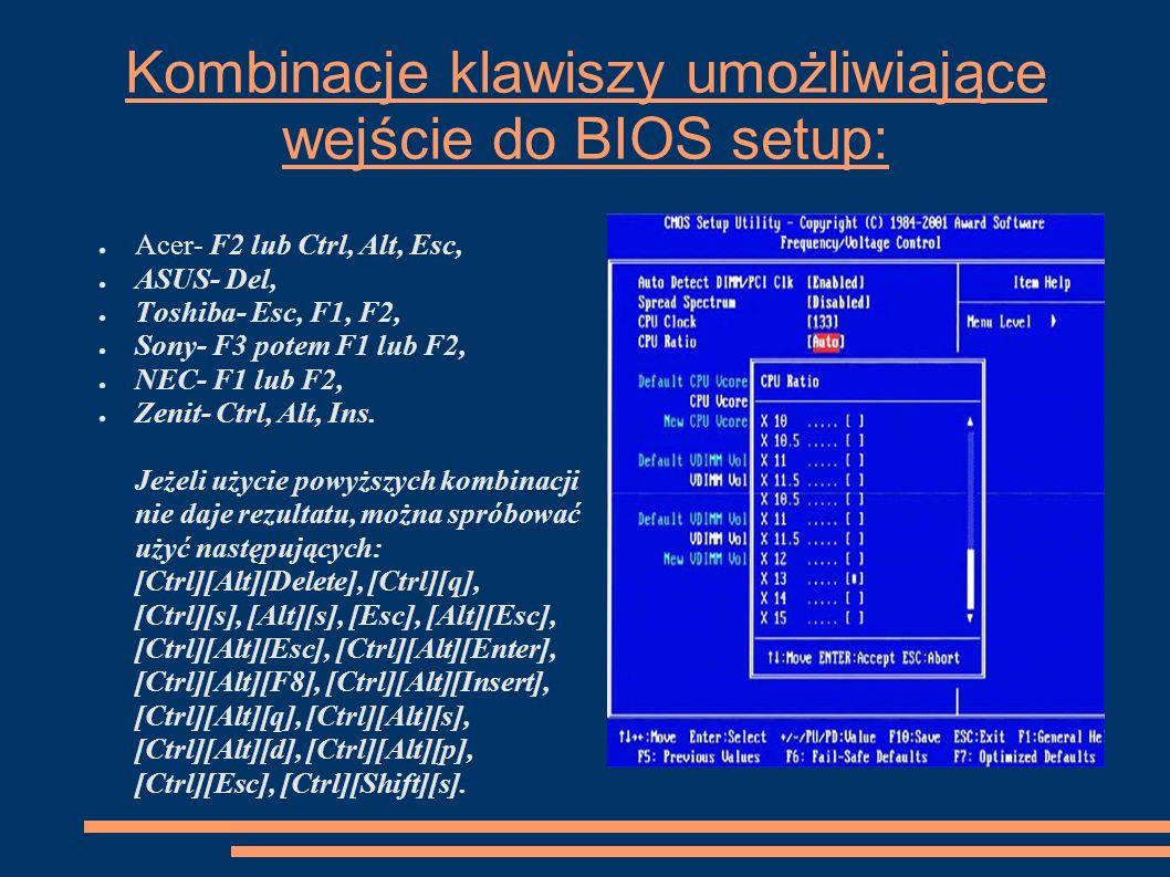 Kombinacje klawiszy umożliwiające wejście do BIOS setup: