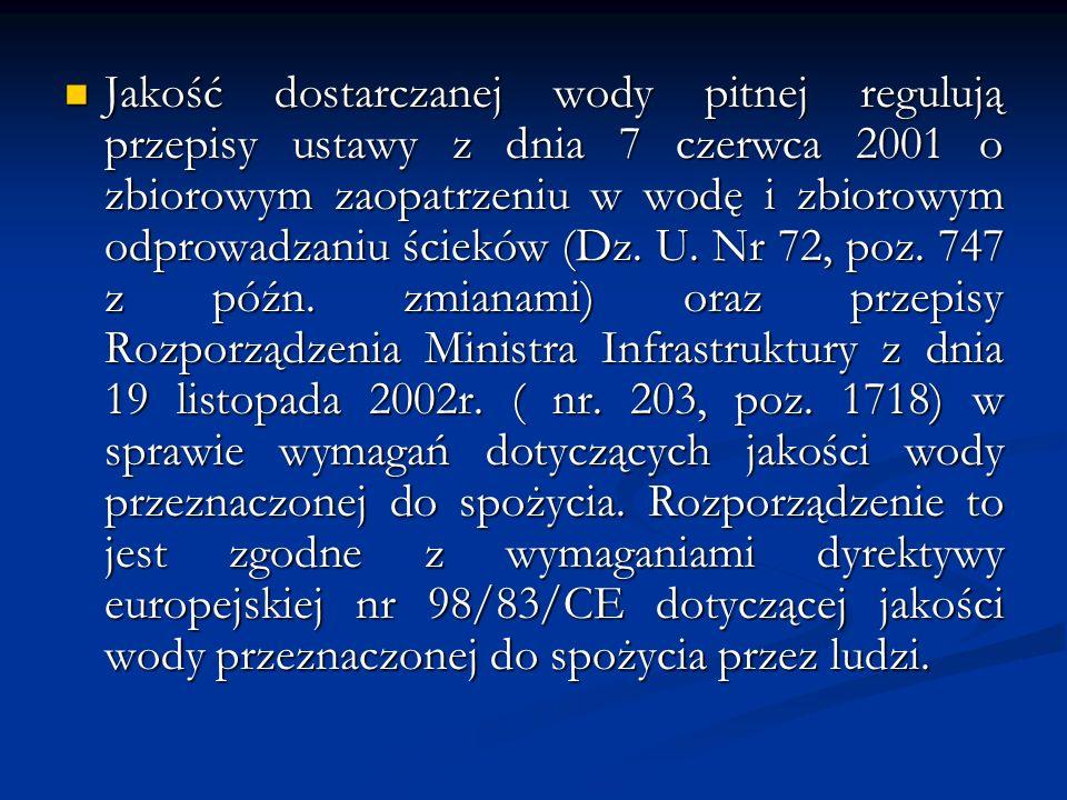 Jakość dostarczanej wody pitnej regulują przepisy ustawy z dnia 7 czerwca 2001 o zbiorowym zaopatrzeniu w wodę i zbiorowym odprowadzaniu ścieków (Dz.