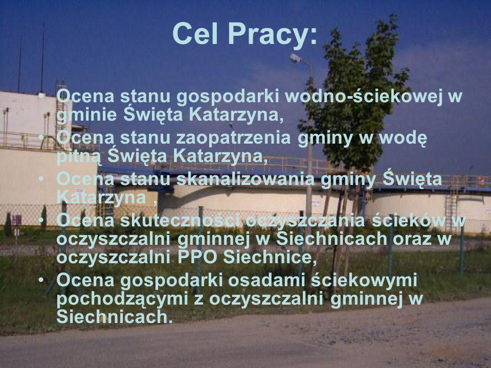 Cel Pracy: Ocena stanu gospodarki wodno-ściekowej w gminie Święta Katarzyna, Ocena stanu zaopatrzenia gminy w wodę pitną Święta Katarzyna,