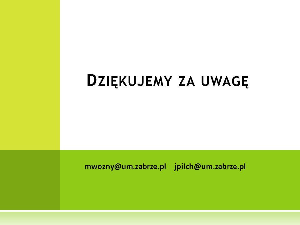 Dziękujemy za uwagę mwozny@um.zabrze.pl jpilch@um.zabrze.pl