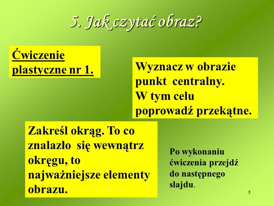 5. Jak czytać obraz Ćwiczenie plastyczne nr 1.