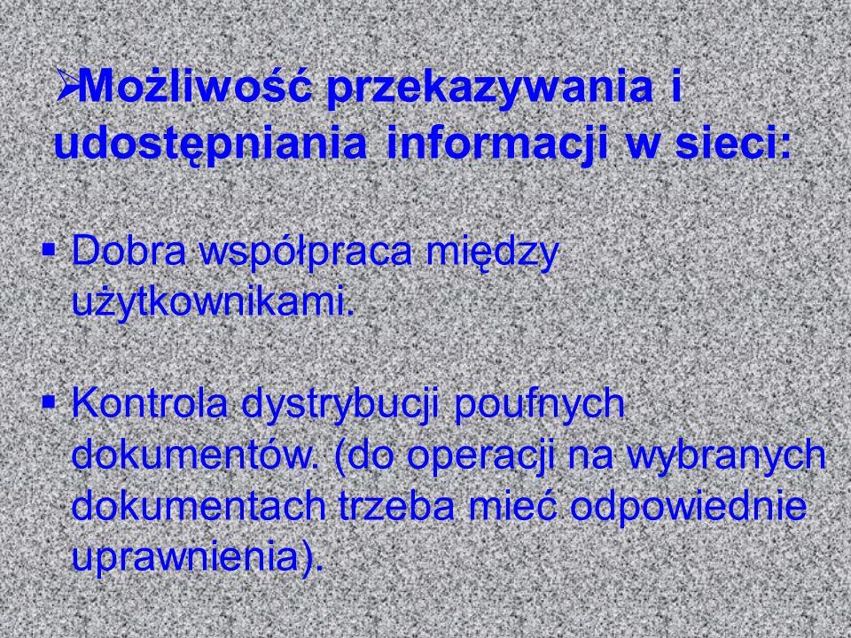 Możliwość przekazywania i udostępniania informacji w sieci: