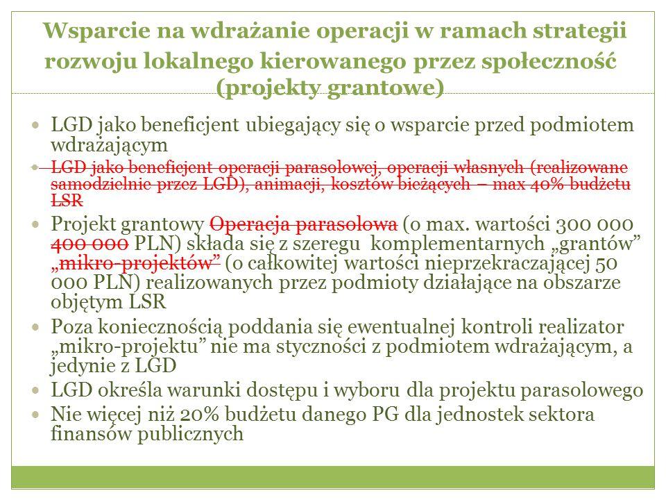 Wsparcie na wdrażanie operacji w ramach strategii rozwoju lokalnego kierowanego przez społeczność (projekty grantowe)