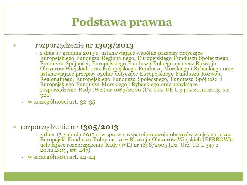 Podstawa prawna rozporządzenie nr 1303/2013