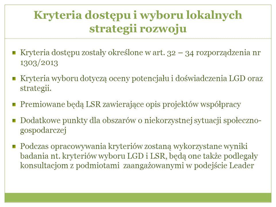 Kryteria dostępu i wyboru lokalnych strategii rozwoju