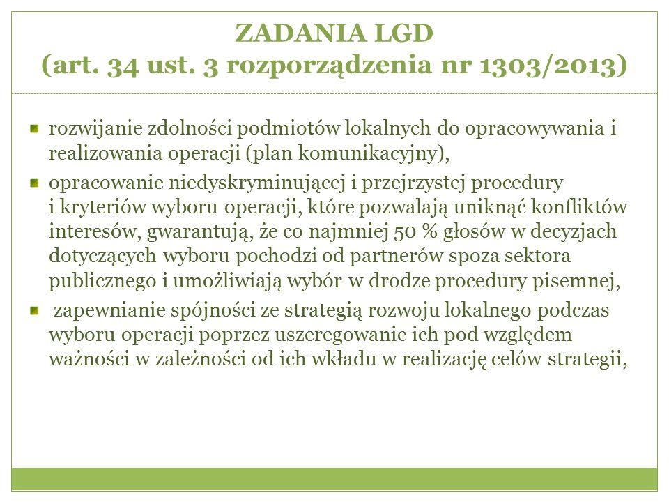 ZADANIA LGD (art. 34 ust. 3 rozporządzenia nr 1303/2013)