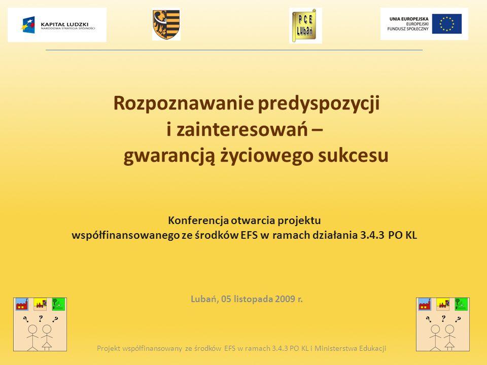 Rozpoznawanie predyspozycji i zainteresowań – gwarancją życiowego sukcesu Konferencja otwarcia projektu współfinansowanego ze środków EFS w ramach działania 3.4.3 PO KL
