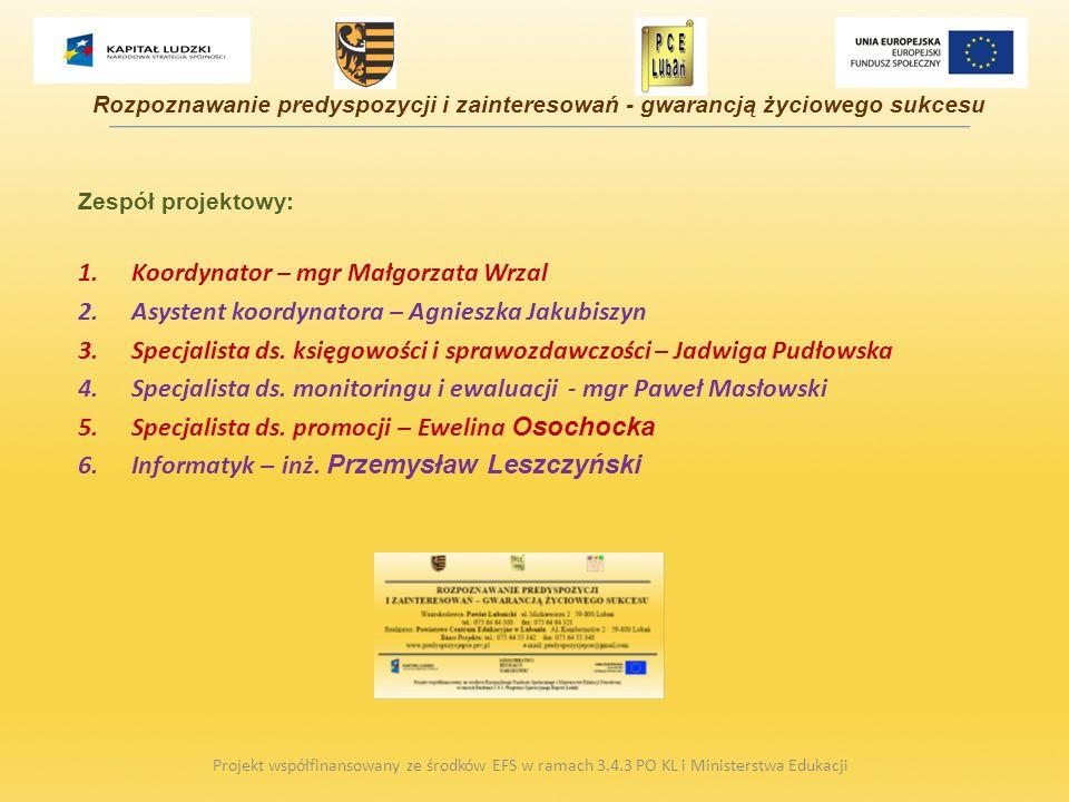 Zespół projektowy: Koordynator – mgr Małgorzata Wrzal