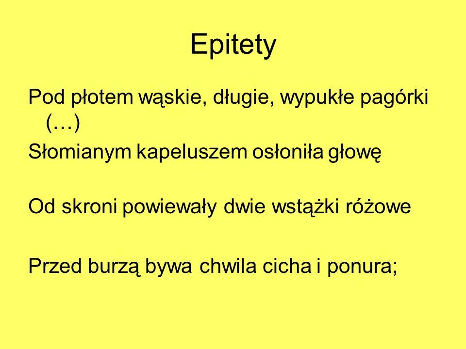 Epitety Pod płotem wąskie, długie, wypukłe pagórki (…)