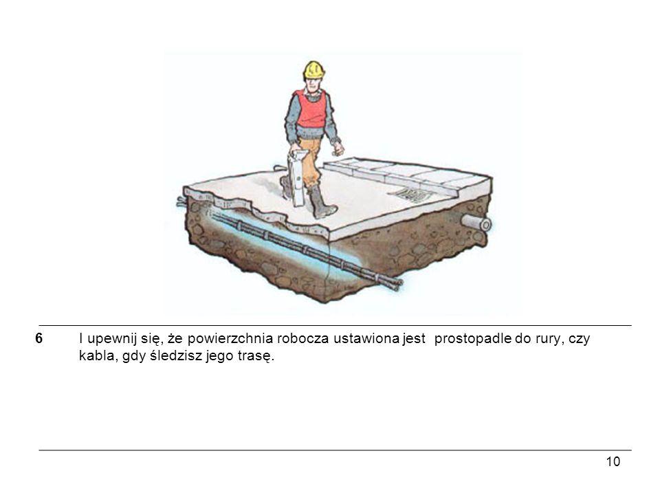 6 I upewnij się, że powierzchnia robocza ustawiona jest prostopadle do rury, czy kabla, gdy śledzisz jego trasę.