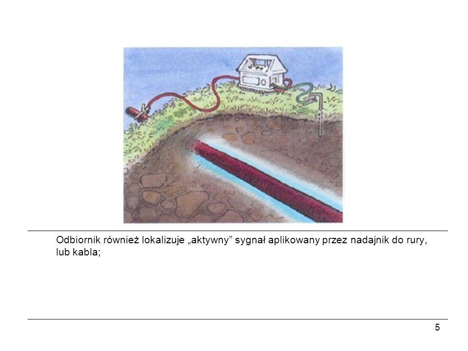 """Odbiornik również lokalizuje """"aktywny sygnał aplikowany przez nadajnik do rury, lub kabla;"""
