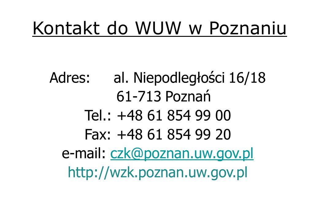 Kontakt do WUW w Poznaniu