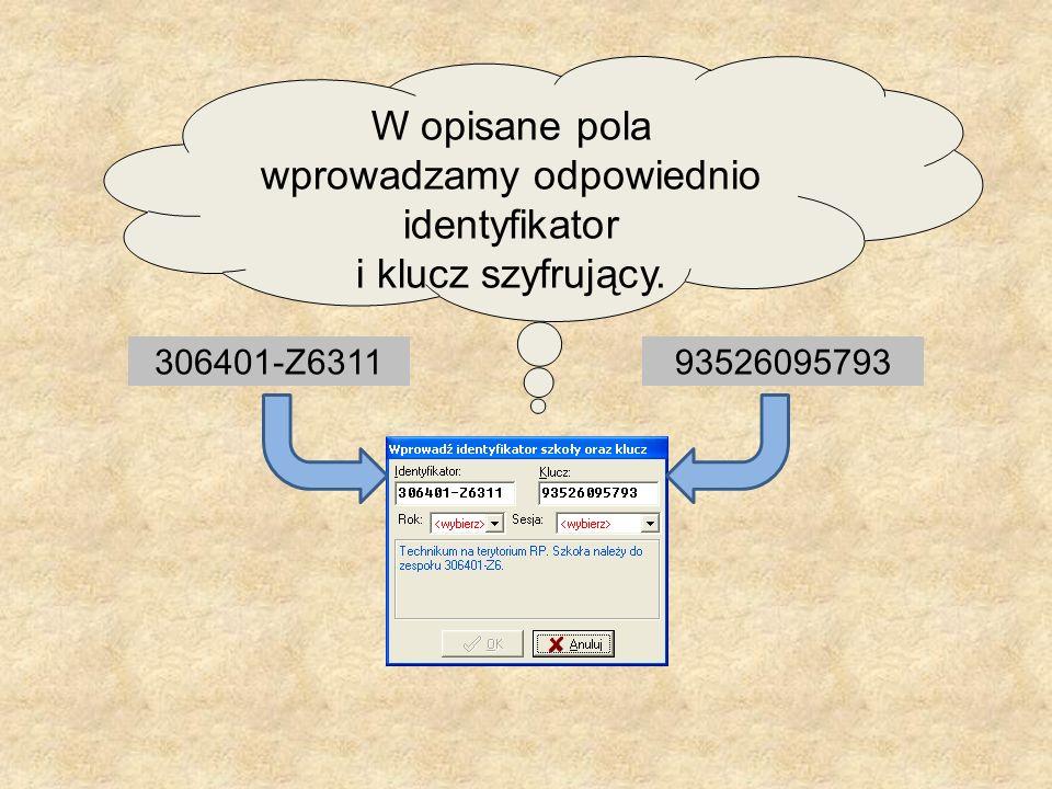 W opisane pola wprowadzamy odpowiednio identyfikator i klucz szyfrujący.