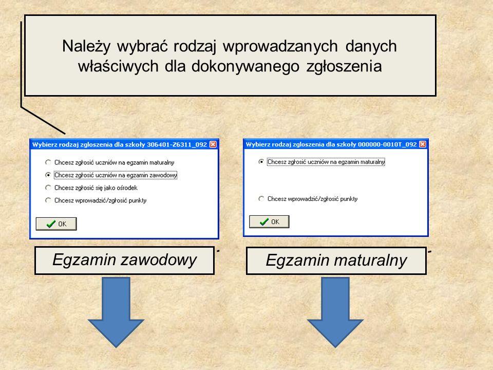 Należy wybrać rodzaj wprowadzanych danych właściwych dla dokonywanego zgłoszenia