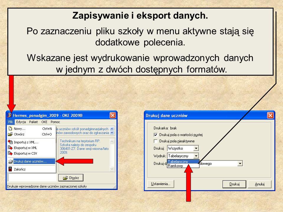 Zapisywanie i eksport danych.