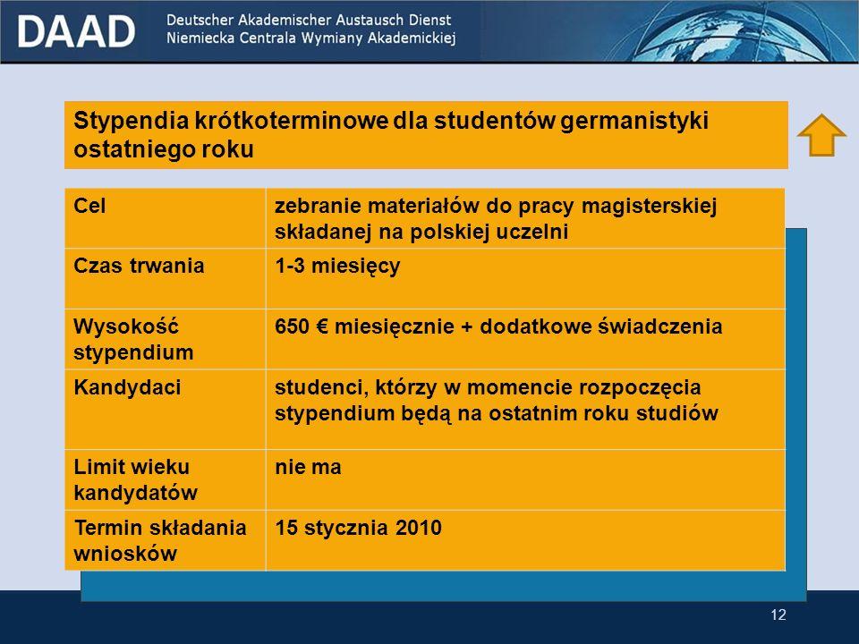Stypendia krótkoterminowe dla studentów germanistyki ostatniego roku