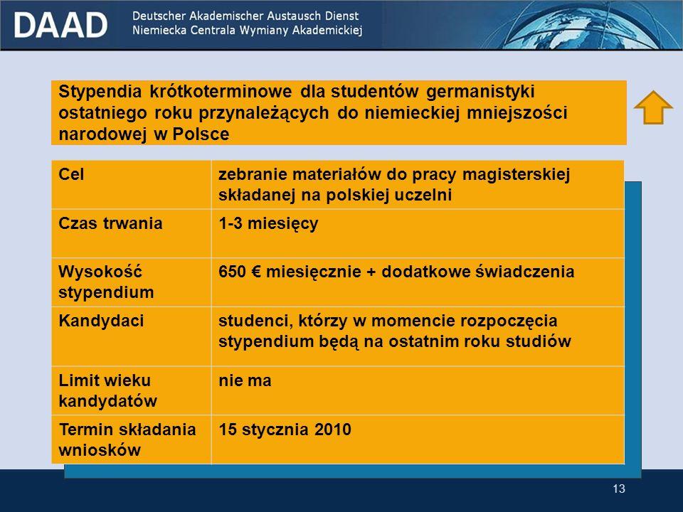 Stypendia krótkoterminowe dla studentów germanistyki ostatniego roku przynależących do niemieckiej mniejszości narodowej w Polsce