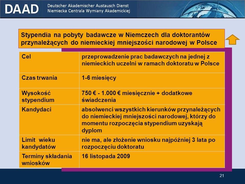Stypendia na pobyty badawcze w Niemczech dla doktorantów przynależących do niemieckiej mniejszości narodowej w Polsce