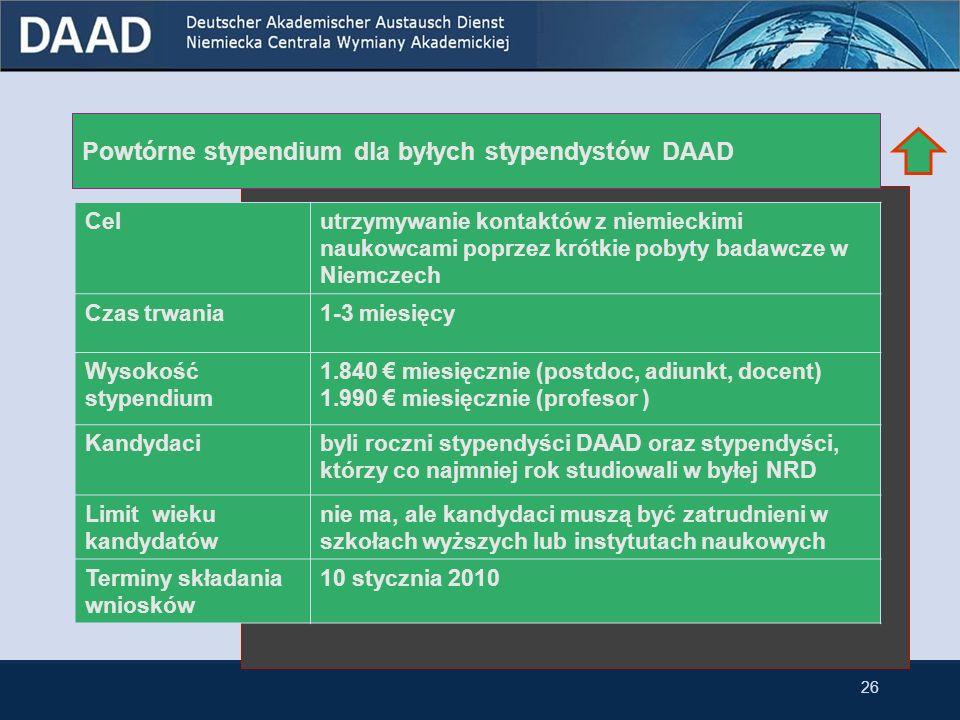 Powtórne stypendium dla byłych stypendystów DAAD