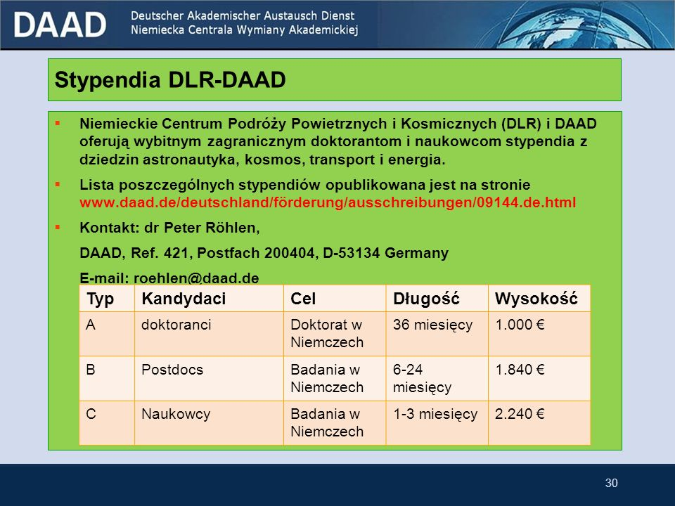 Stypendia DLR-DAAD Typ Kandydaci Cel Długość Wysokość