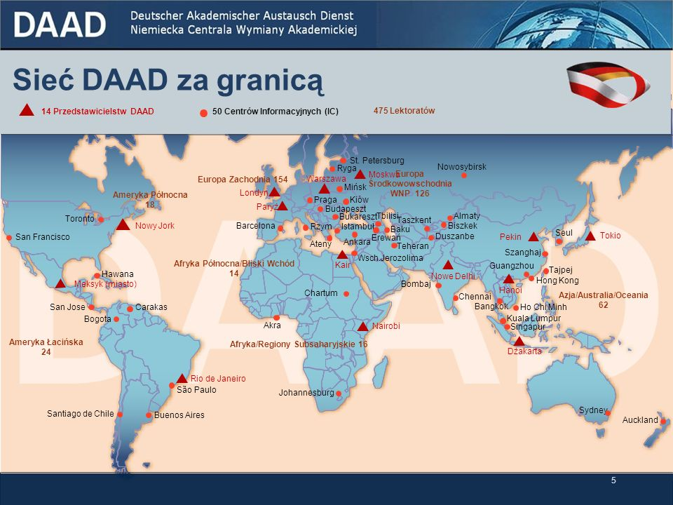 Sieć DAAD za granicą 14 Przedstawicielstw DAAD