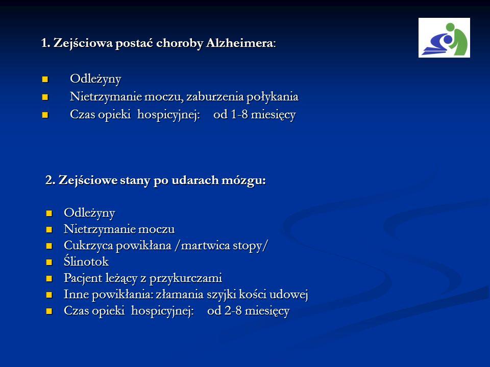 1. Zejściowa postać choroby Alzheimera: