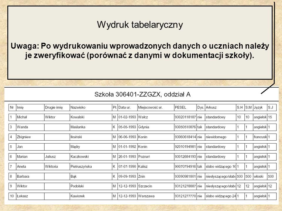 Wydruk tabelaryczny Uwaga: Po wydrukowaniu wprowadzonych danych o uczniach należy je zweryfikować (porównać z danymi w dokumentacji szkoły).