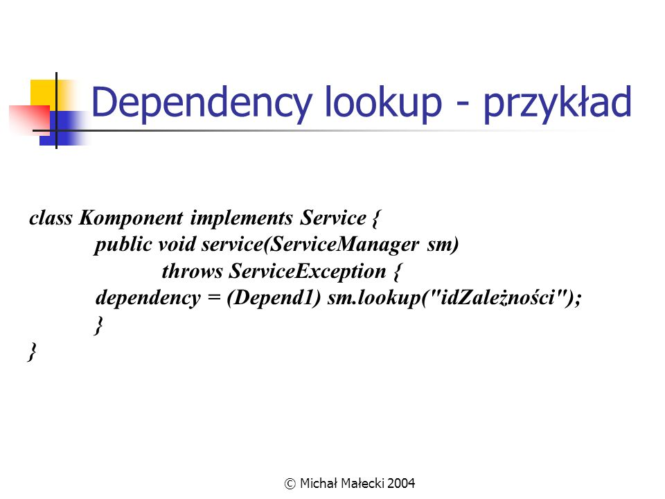 Dependency lookup - przykład