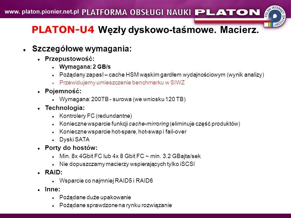 PLATON-U4 Węzły dyskowo-taśmowe. Macierz.