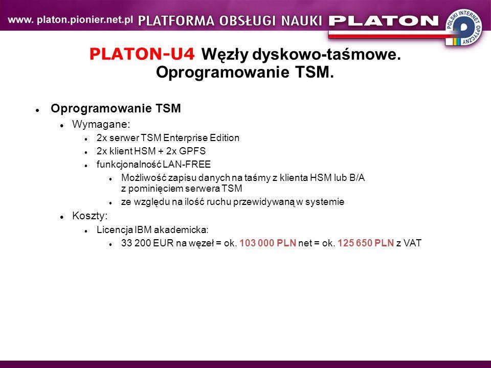 PLATON-U4 Węzły dyskowo-taśmowe. Oprogramowanie TSM.