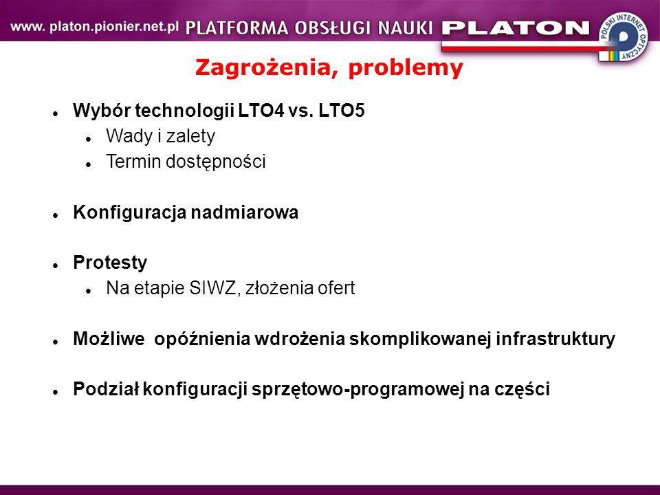 Zagrożenia, problemy Wybór technologii LTO4 vs. LTO5 Wady i zalety