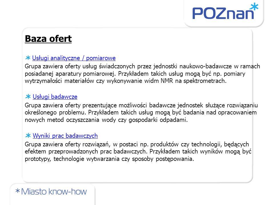 Baza ofert Usługi badawcze Wyniki prac badawczych