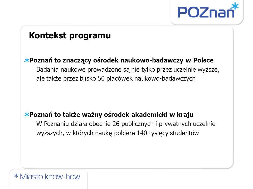 Kontekst programu Poznań to znaczący ośrodek naukowo-badawczy w Polsce
