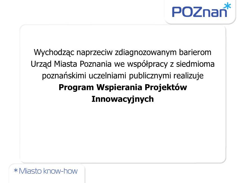 Wychodząc naprzeciw zdiagnozowanym barierom Urząd Miasta Poznania we współpracy z siedmioma poznańskimi uczelniami publicznymi realizuje Program Wspierania Projektów Innowacyjnych