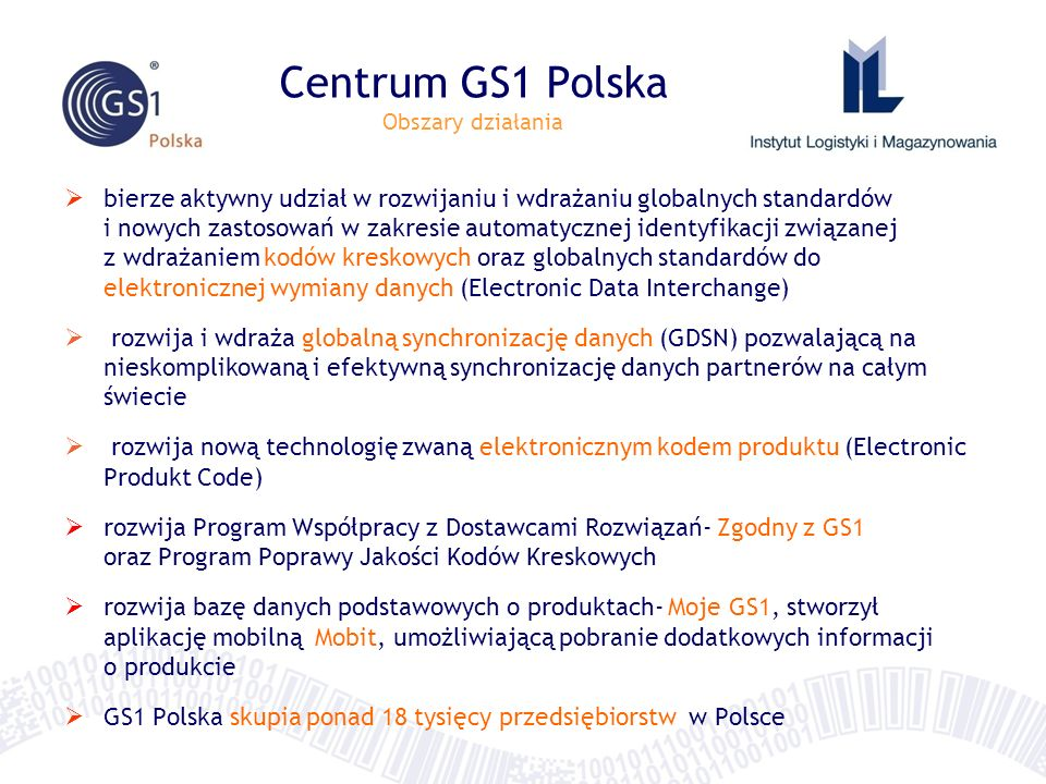 Centrum GS1 Polska Obszary działania