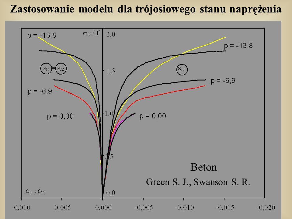 Zastosowanie modelu dla trójosiowego stanu naprężenia