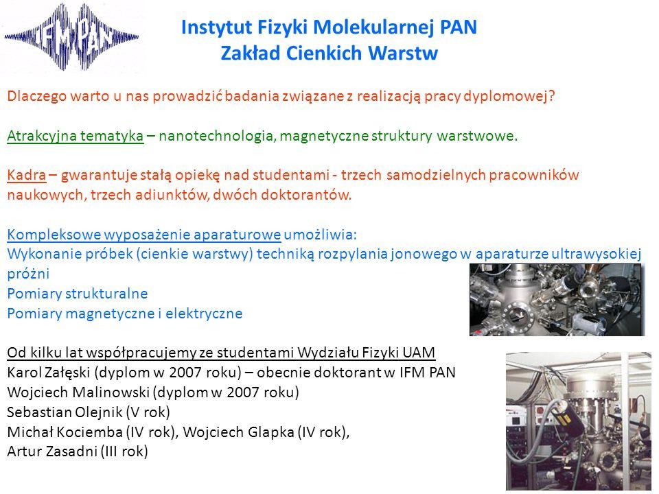 Instytut Fizyki Molekularnej PAN Zakład Cienkich Warstw