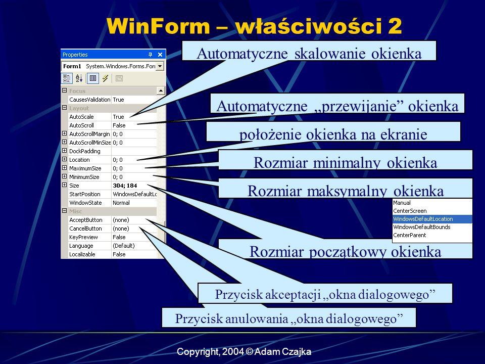 WinForm – właściwości 2 Automatyczne skalowanie okienka
