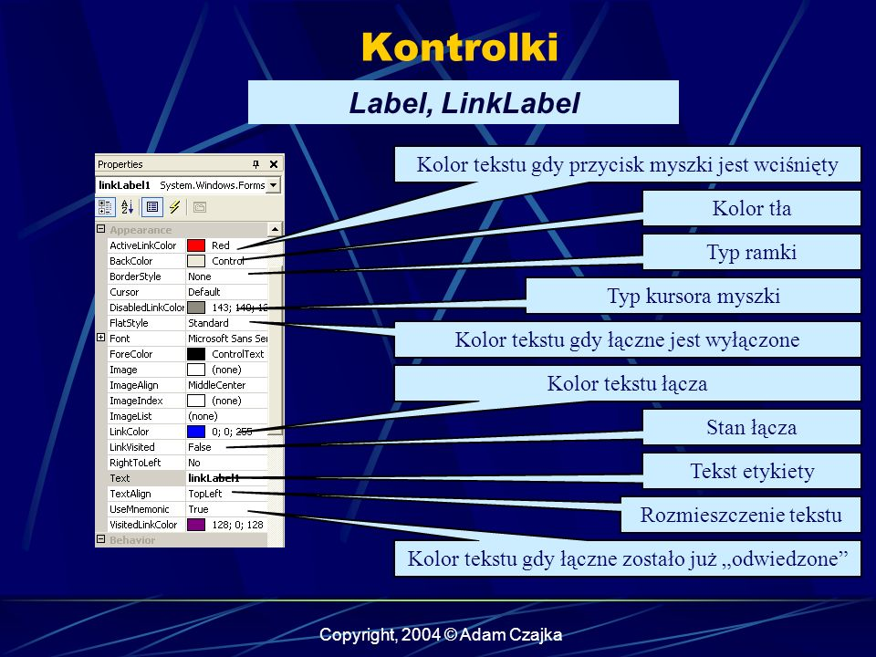 Kontrolki Label, LinkLabel