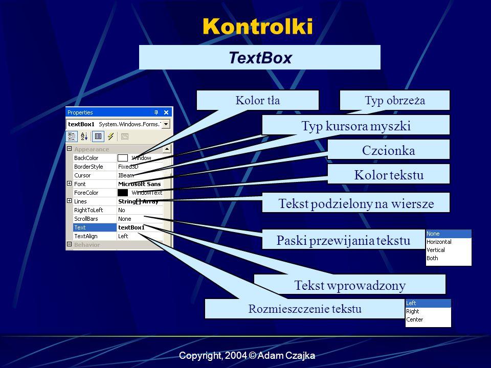 Kontrolki TextBox Typ kursora myszki Czcionka Kolor tekstu