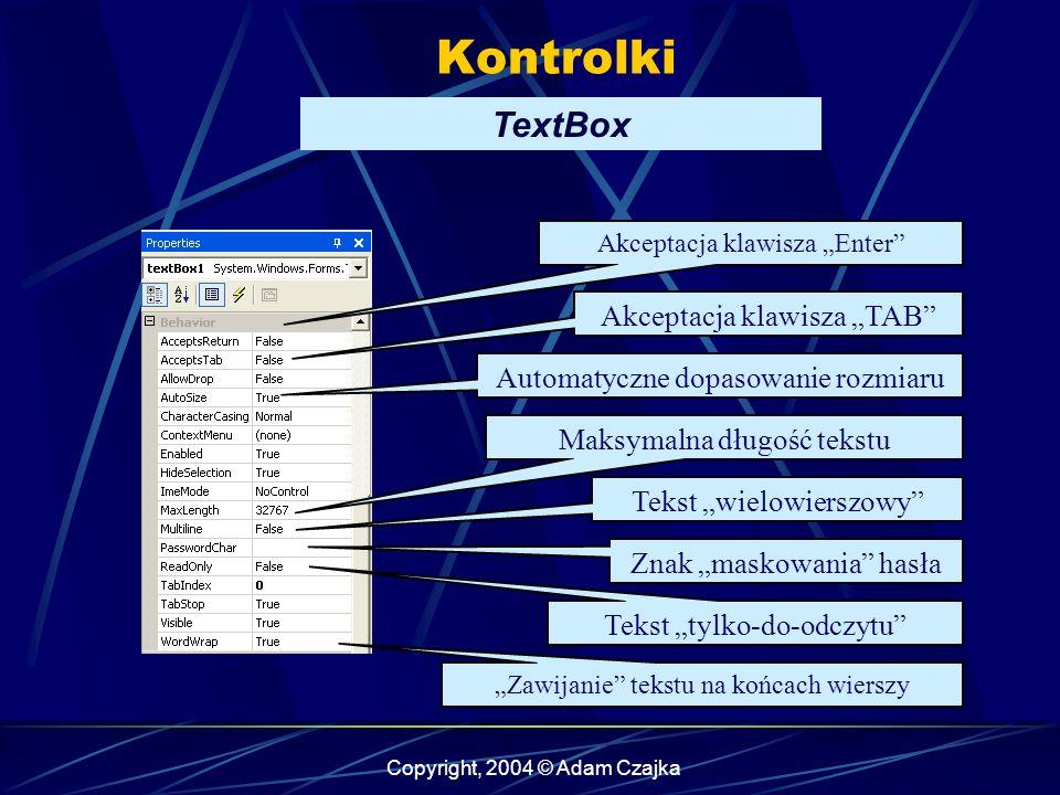 "Kontrolki TextBox Akceptacja klawisza ""TAB"
