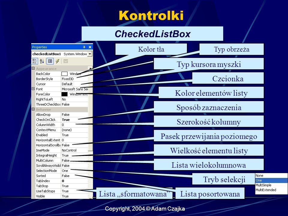 Kontrolki CheckedListBox Typ kursora myszki Czcionka