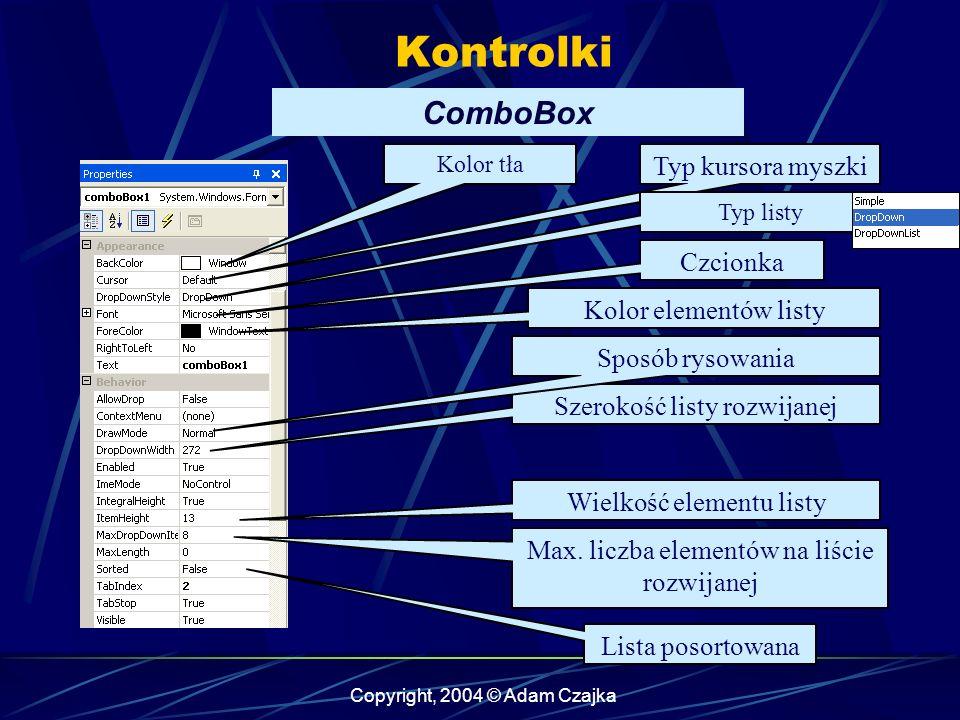 Kontrolki ComboBox Typ kursora myszki Czcionka Kolor elementów listy