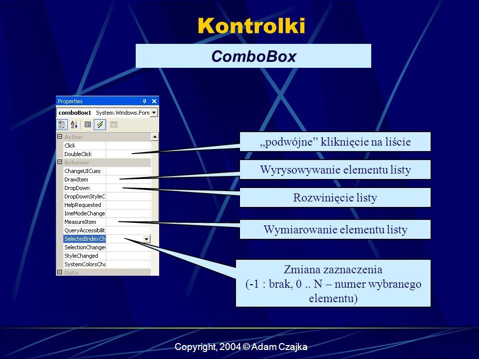 """Kontrolki ComboBox """"podwójne kliknięcie na liście"""