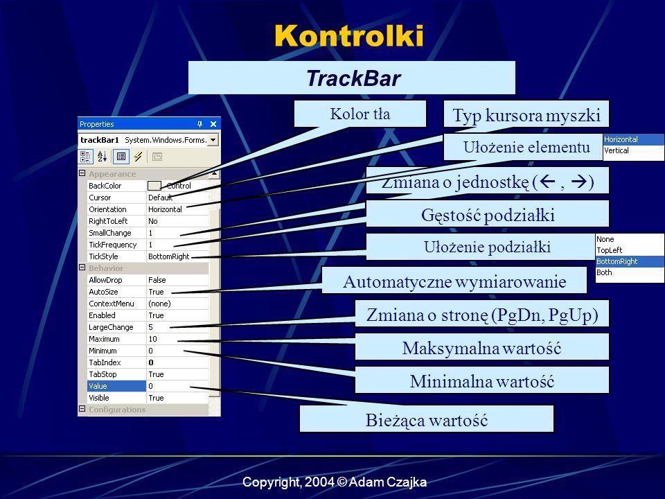 Kontrolki TrackBar Typ kursora myszki Zmiana o jednostkę ( , )