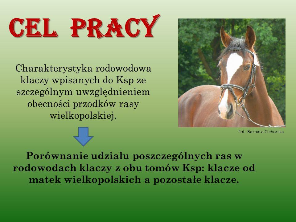 Cel pracy Charakterystyka rodowodowa klaczy wpisanych do Ksp ze szczególnym uwzględnieniem obecności przodków rasy wielkopolskiej.