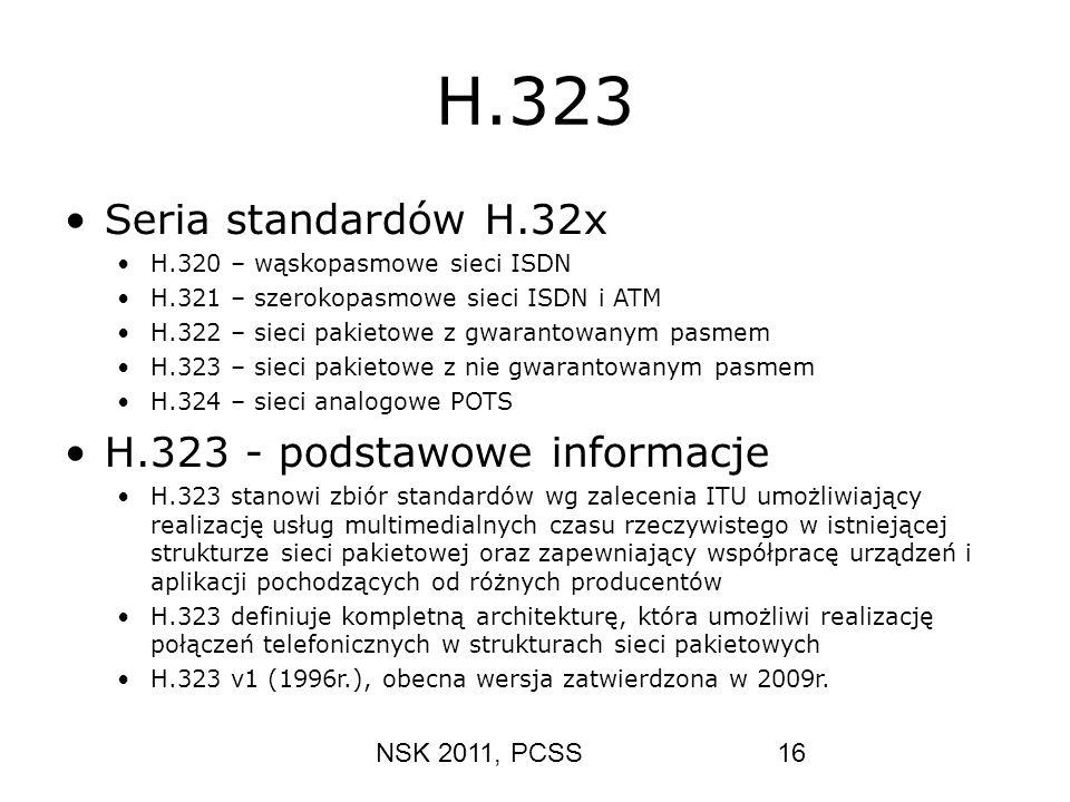 H.323 Seria standardów H.32x H.323 - podstawowe informacje